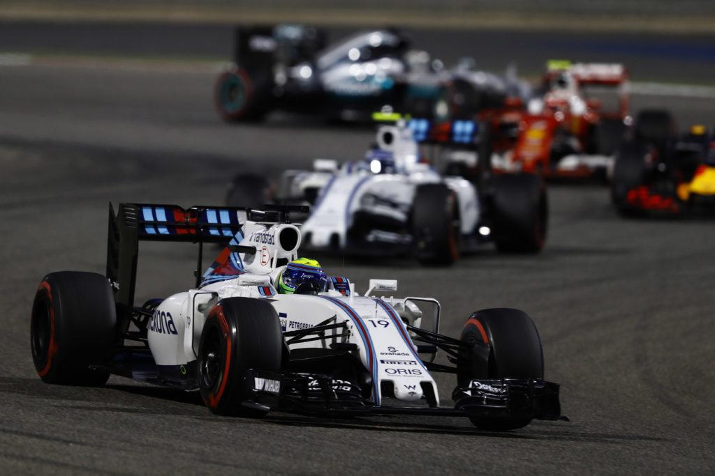 Bahrain International Circuit, Sakhir, Bahrain. Sunday 3 April 2016. Felipe Massa, Williams FW38 Mercedes leads Valtteri Bottas, Williams FW38 Mercedes. Photo: Steven Tee/Williams F1 ref: Digital Image _H7I1420