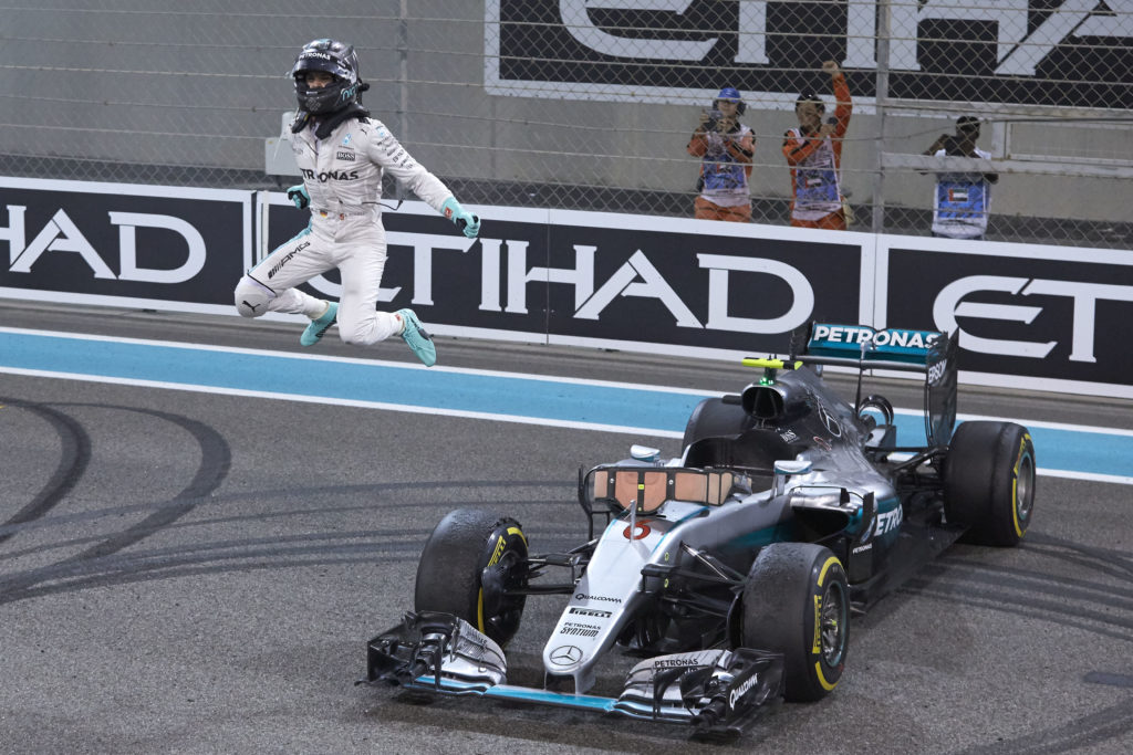 Rosberg celebrating his championship win in Abu Dhabi, 2016